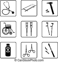 Medical tools silhouettes in a nine square grid