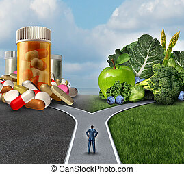 Medication decision concept and natural remedy nutrition choices dilemma between healthy fresh fruit and vegetables or pharmaceutical pills and prescription drugs with a man on a crossroad trying to decide the best path to health.