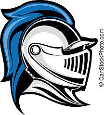 Medieval knight head in helmet. Vector illustration