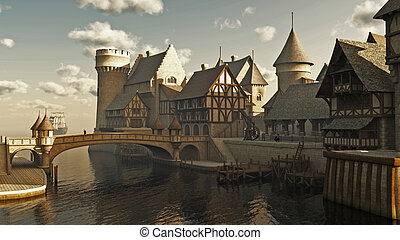Medieval or fantasy waterside town docks, 3d digitally rendered illustration