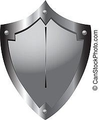 Steel shield medieval warrior heraldic form. Vector illustration.