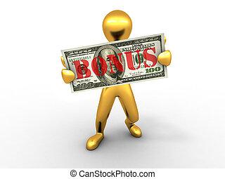 Men with dollar. bonus. 3d