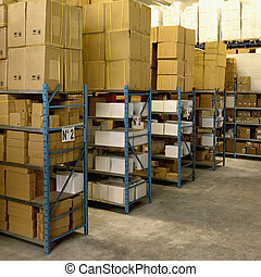 Boxes on pallets inside an industrial building