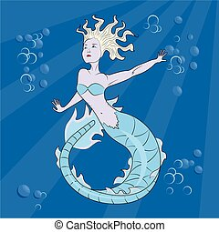 mermaid swimming in the depths of ocean, eps10