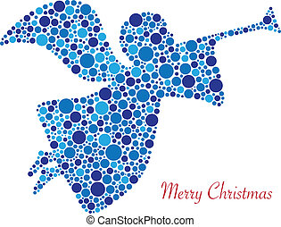 Christmas Angel Trumpet Silhouette in Polka Dots with Merry Christmas Text Illustration