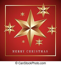 merry christmas card golden big star with red background