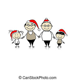 Merry christmas. Happy family together - grandparents and grandchildren