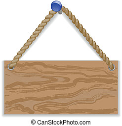 Wooden message board hung on a braid