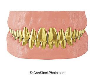 metal golden teeth in the jaw, golden crown of a teeth, 3d render