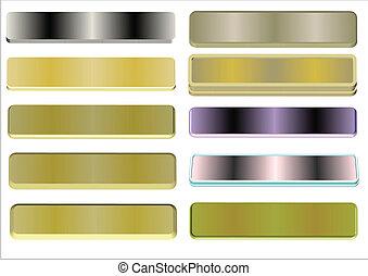 3d metal polished name plates on white