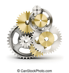 Metal polished gears. 3d image. Isolated white background.