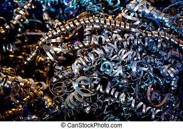 Metal shavings close up