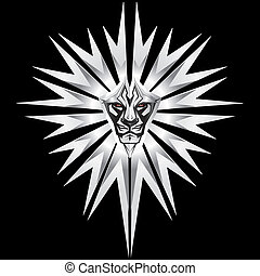 Metalic representation of lion in front of metal shield