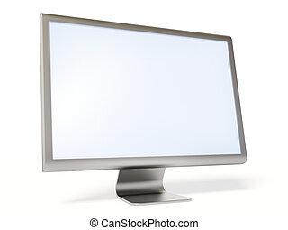 metallic monitor on white background