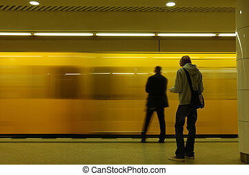 Train arriving in the metro station, Berlin