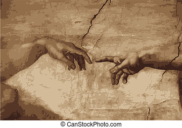 """Michaelangelo's """"the creation of Adam"""" recerated in vector form"""