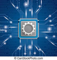 Microchip Processor Gear Blue Background