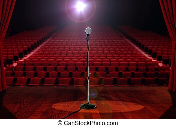 Microphone on Stage with Empty Seat