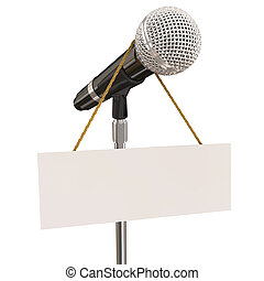 Microphone on stand with sign and blank copyspace for your own words or message to illustrate open mic night, karaoke competition or stand-up comedy or singing