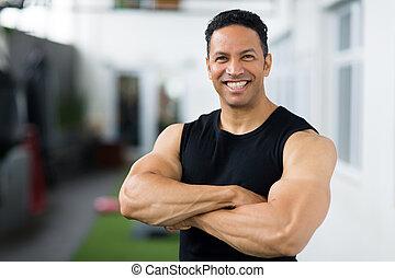 middle aged male bodybuilder portrait