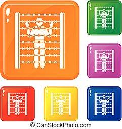 Migrant man at border icons set vector color