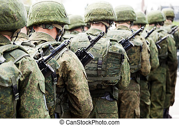 Army parade - military force uniform soldier row march