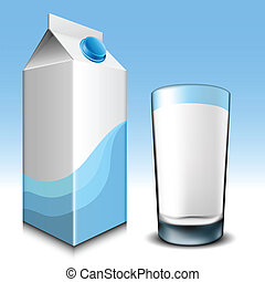 Milk carton with glass full with milk on blue background