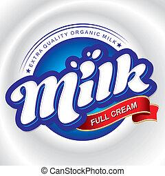 milk packaging design, hand lettering logotype (vector)