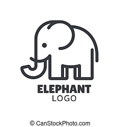 Simple and minimal elephant logo illustration. Modern vector line icon.