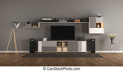 Minimalist room with home cinema system