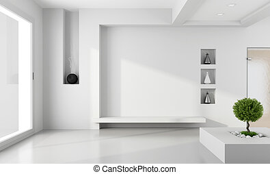 Minimalist white room with niche without furniture - rendering