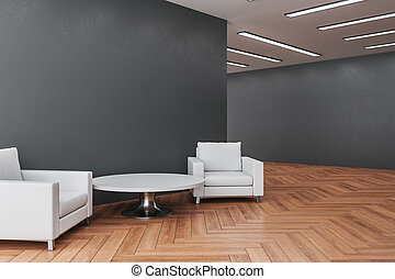 Minimalistic waiting room interior with two chairs