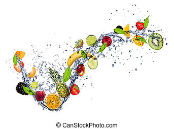 Mix of fruit in water splash, isolated on white background