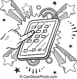 Doodle style tablet or mobile device sketch on 1960s or 1970s pop explosion background.