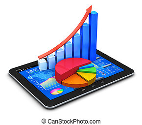 Mobile office, stock exchange market trading, statistics accounting, financial development and banking business concept: modern touchscreen tablet computer PC with stock market application software interface, growth bar chart and pie diagram isolated on white background Design is my own and all text...