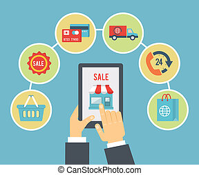 Mobile order and payment, Internet shopping concept in flat style