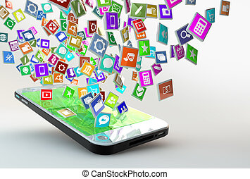 Mobile Phone with lots of apps flying arround