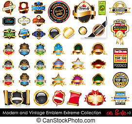 Modern and Vintage Emblems Extreme Collection. Big variety of emblems, vintage labels and sticker to use for advertise or food or bottle packaging.