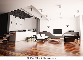 Modern apartment with living room and bedroom interior 3d