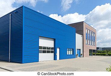 facade of modern blue business unit