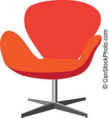 Modern, comfortable, elegant and stylish chair illustration in red and orange color on white background.