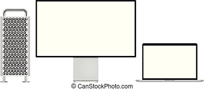 Modern computer monitor and laptop for mockup