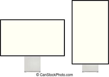 Modern computer monitor set landscape and portrait flip