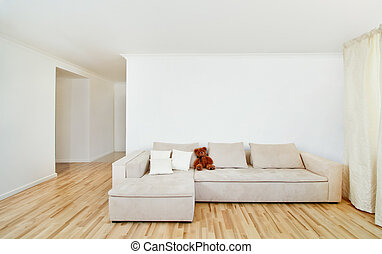 Modern home interior with free wall