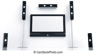 Modern home theater with the big plasma and high quality acoustics