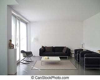 modern private living room with copy space for your own images