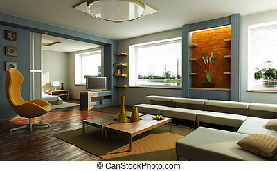 modern 3d interior rendering