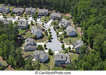Modern comfortable middle class neighborhood aerial in the southeastern USA.