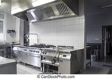 Modern stainless industrial kitchen