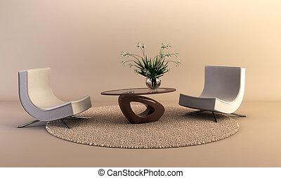 3D rendering of the modern interior scene